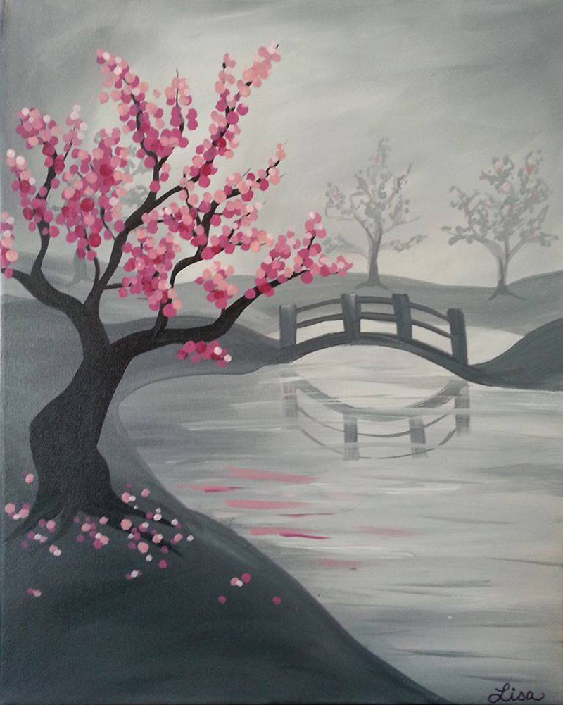 The painted cabernet a paint sip studio santa barbara for Cherry blossom canvas painting